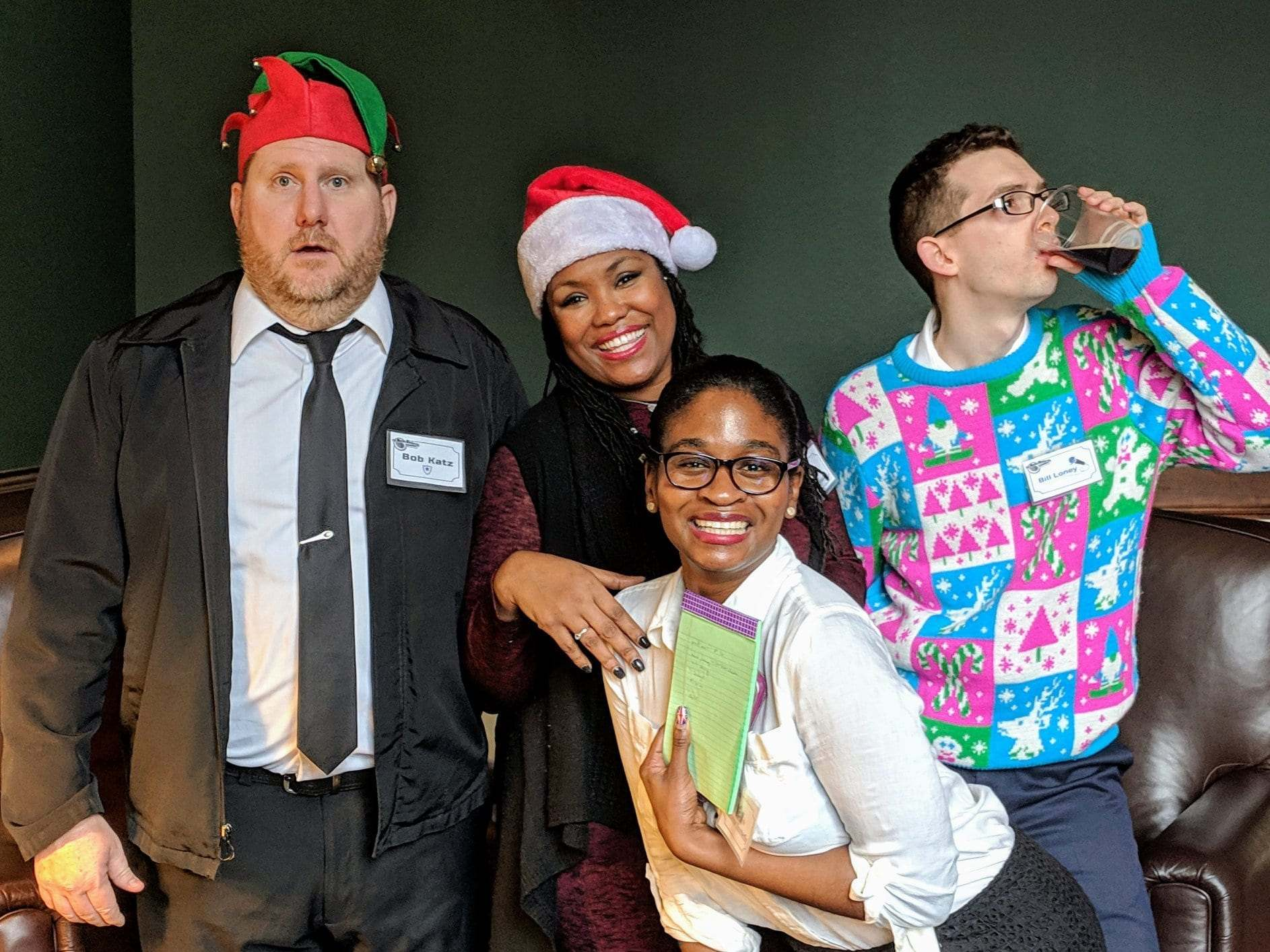 Murder Mystery Company clients dancing at their annual office Christmas party.