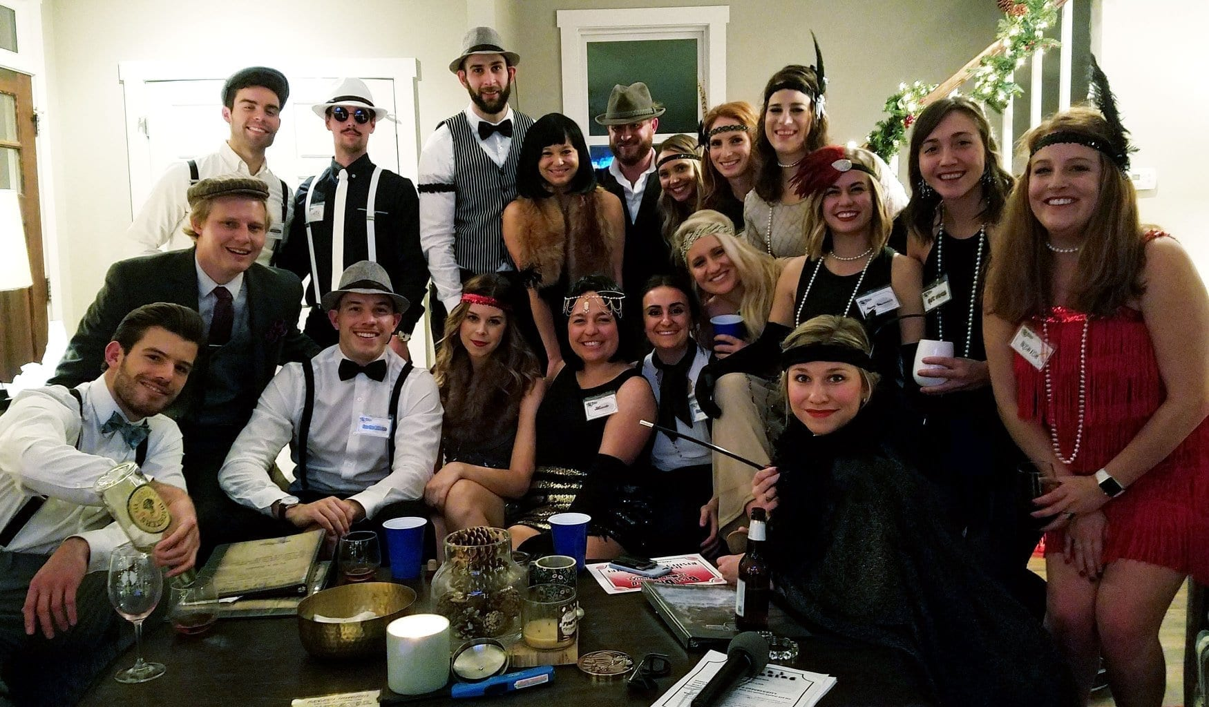 Murder Mystery Party clients around table