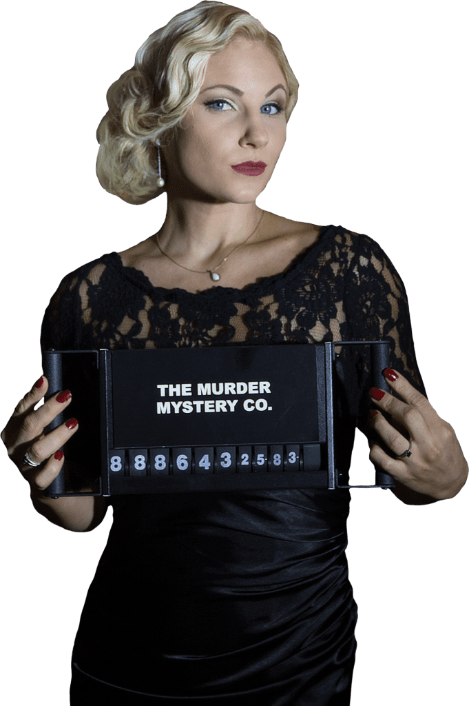 portrait style photo of a female murder mystery company suspect