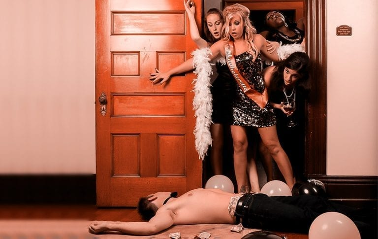 girls walking in on a dead body during a murder mystery bachelorette party.