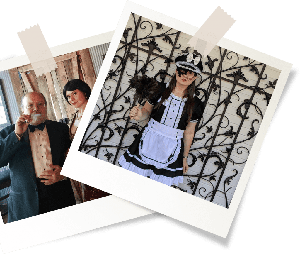 murder mystery actors with polaroid style borders
