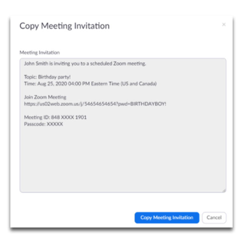 Example image of a Zoom invite to a  virtual birthday party.